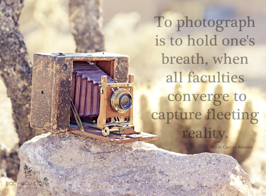 photography quote by Henri Cartier-Bresson with vintage camera in the desert